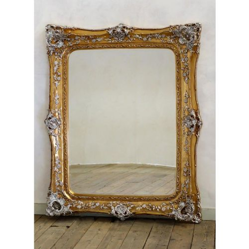 Rosetti Baroque Gold and Silver Gilt Leaf Bevelled Mirror / 135cm x 165cm